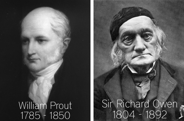 Christian biologists William Prout and Sir Richard Owen