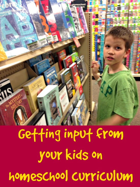 Getting input from your kids on homeschool curriculum